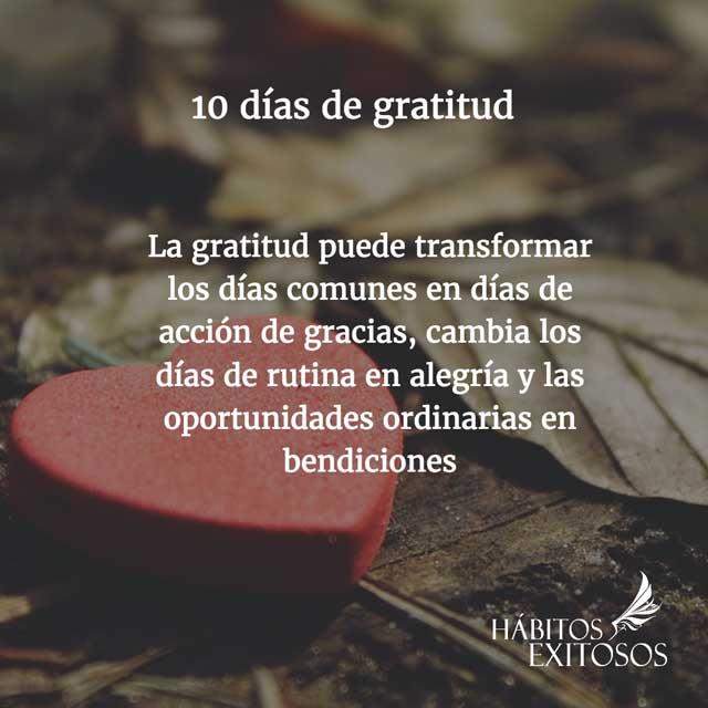 10 días de gratitud - Hábitos Exitosos