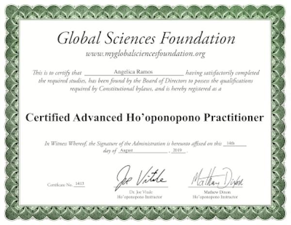 Certificado ho'oponopono - Angie Ramos Life Coaching